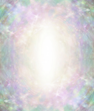 Beautiful Angelic Ethereal Light Burst Background - oval pale gold central light surrounded by pastel green pink blue colours with flecks of light and an ethereal angelic feel