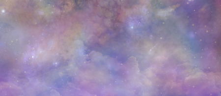 Angelic Ethereal Starry Night Sky Background -  Pink and purple coloured deep space banner background  with many different stars, planets and cloud formations
