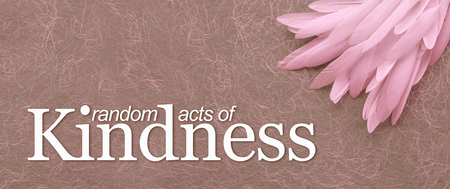 Angelic Random Acts of Kindness  Pink Feather Background - neat pile of thin white feathers in the top right corner with the words RANDOM ACTS OF KINDNESS against a swirly hand made paper background