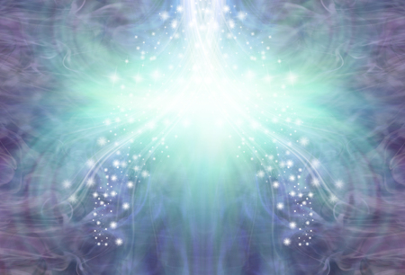 Cooling stream of purple jade energy background - symmetrical pattern of ethereal blue wispy energy and sparkles with a white light burst and copy space
