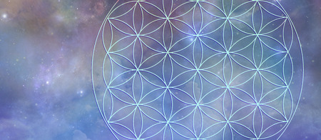 Celestial Flower of Life Background Banner - Cosmic blue outer space background with a partial flower of life symbol superimposed over the top 写真素材