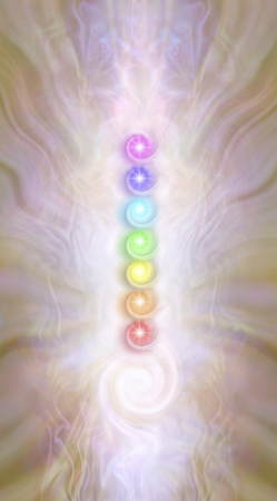 Kundalini stack of spiralling Chakras - against a pink gold radiating ethereal energy field seven rainbow coloured vortexing chakras above a kundalini spiral energy formation