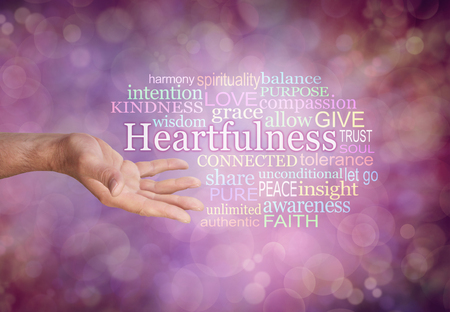 Heartfulness Word Tag Cloud - male open hand against a warm red bokeh background with a HEARTFULNESS word cloud on right
