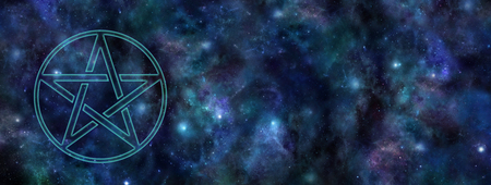 Cosmic Pentacle Web Banner - transparent Pentacle symbol floating in space against a dark blue starry night sky deep space background with copy space on right