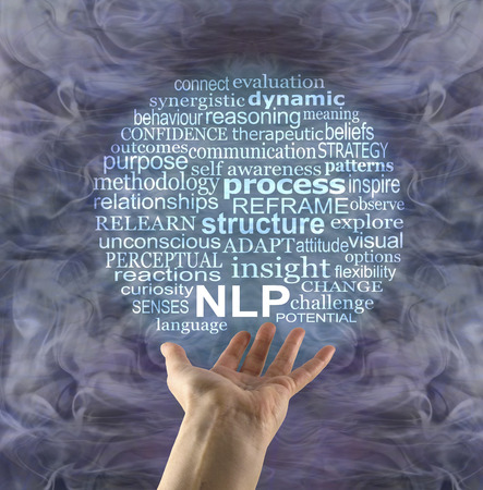 Word Bubble associated with Neuro Linguistic Programming - female hand palm up beneath an NLP word cloud with a silver and turquoise gaseous energy formation in the background 免版税图像