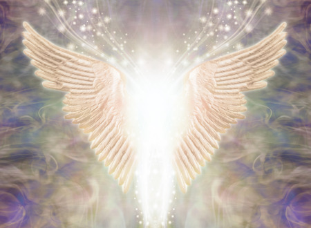 Angelic Light Being - Pair of Angel Wings with bright white light between and a stream of glittering sparkles flowing upwards against an ethereal gaseous energy formation background 写真素材 - 118698956