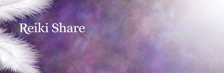 Blank message board for a Reiki Share - Two fluffy white feathers on left with the words REIKI SHARE hovering between against a wide purple blue misty energy formation background fading to white Zdjęcie Seryjne