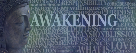 Buddha Spiritual Awakening Word Tag Cloud - Deity Buddha head on left with the word AWAKENING beside surrounded by a word cloud on a rustic blue background