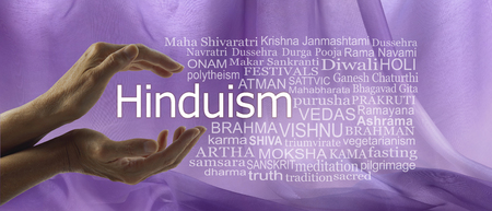 Aspects of Divine Hinduism Word Tag Cloud - female hands cupped around the word HINDUISM surrounded by a word cloud against a purple flowing chiffon background