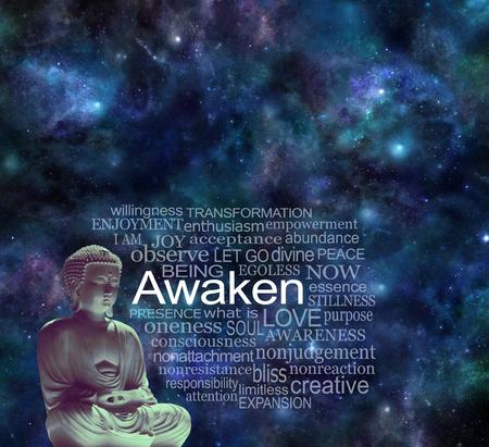 Mindfulness Awaken Meditation Concept - Lotus position Buddha beside a word cloud AWAKEN against a dark night deep space sky background