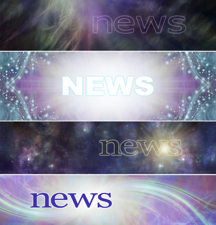 4 different Spiritual News Banner heads - wide website headers with ethereal feathers, shimmering sparkles, cosmic space and healing light trails and the word NEWS ideal for Spiritual healing