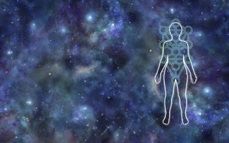 Kabbala-Baum des Lebens-Hintergrund-Banners - weibliche Silhouette mit Kabbalah-Baum des Lebens-Symbolumrisses vor einem kosmischen Weltraumhintergrund