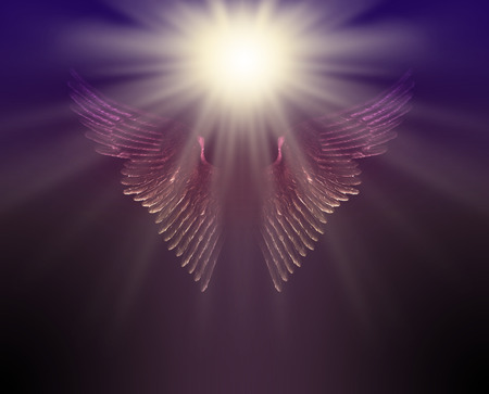 The Guiding Light of Your Guardian Angel - bright white light  hovering above a pair of glistenign angel wings on a dark blue brown background with copy space