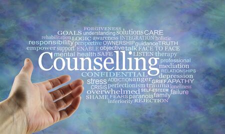 Counselling Word Tag Cloud - open palm hand gesturing towards a Counseling word cloud on a rustic blue modern background Imagens