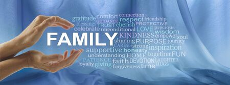 Caring for Family Word Tag Cloud - female hands cupped around the word FAMILY surrounded by a relevant word cloud against a blue chiffon floaty background