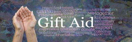 Gift Aid Charity Awareness Word Cloud Banner - Female cupped hands with the words GIFT AID beside surrounded by a word tag cloud against a rustic modern abstract background Imagens