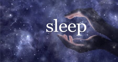 Do you need help getting to sleep - ethereal partial transparent female hands cupped around the word SLEEP against a dark blue cosmic starry night sky background with copy space Imagens