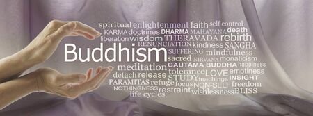 Aspects of Buddhism Word Tag Cloud - female cupped hands with the word Buddhism floating between surrounded by a relevant  word cloud against mink coloured chiffon background