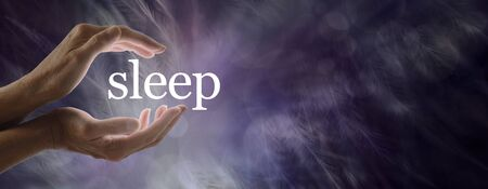 Sleep Concept Banner -  female hands cupped around the word SLEEP against a dark purple feather background with copy space on right side
