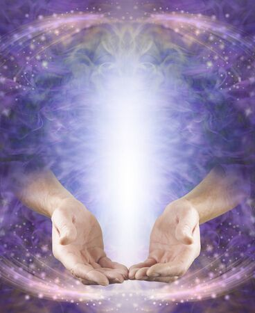 Faith Healer Message Board - male hands in open giving position with shaft of white light above on a pink purple ethereal energy flowing sparkling background with copy space