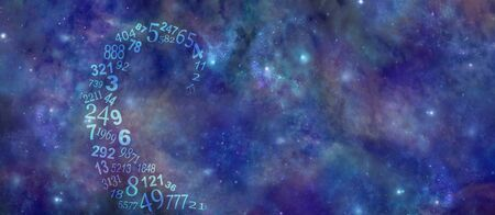 Vortexing Cosmic Numbers Numerology Background Banner - a swirl of semi-transparent random numbers spiraling out in space on a wide deep space night sky background with space for copy