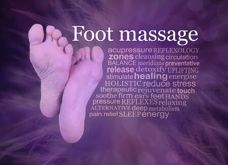 Indulge yourself in some pampering Foot Massage treatments - the soles of pair of female feet beside a relevant FOOT MASSAGE word cloud on a purple feather bokeh background