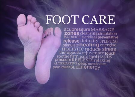 Indulge yourself in some pampering Foot Care treatments - the soles of pair of female feet beside a relevant FOOT CARE word cloud on a purple feather bokeh background