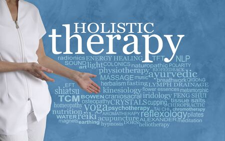 There are so many different Holistic therapies too choose from - female therapist with hands gesturing towards HOLISTIC THERAPY word tag cloud on a turquoise blue background Imagens