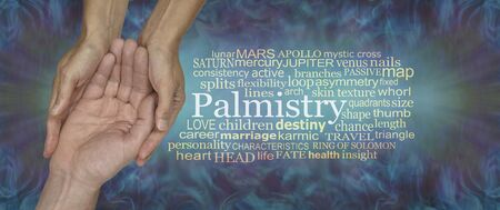 Elements of Palmistry Word Tag Cloud - female Palm Readers hands cupped around male client beside a PALMISTRY word cloud against a rustic grunge purple green background