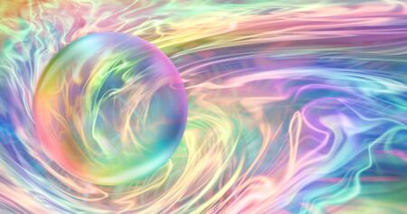 Rainbow Orb and Flowing Rainbow Energy - Transparent bubble with rainbow edges against an ethereal gaseous stream of flowing rainbow colours with space for copy Stock Photo