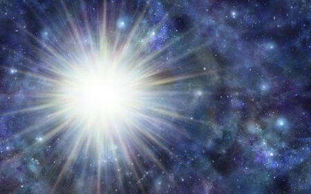 Énorme orbe d'énergie de l'espace profond - fond bleu foncé de l'espace extra-atmosphérique avec une énorme explosion de lumière blanche sur le côté gauche et beaucoup d'espace de copie Banque d'images