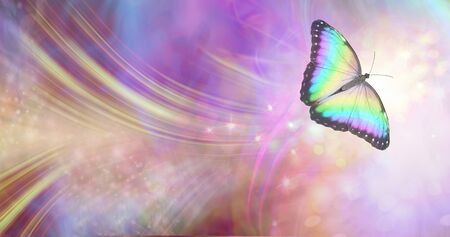 Tranformation and spiritual release concept - vibrant butterfly against a white energy formation flowing outwards, sparkles and colours moving in all directions with copy space