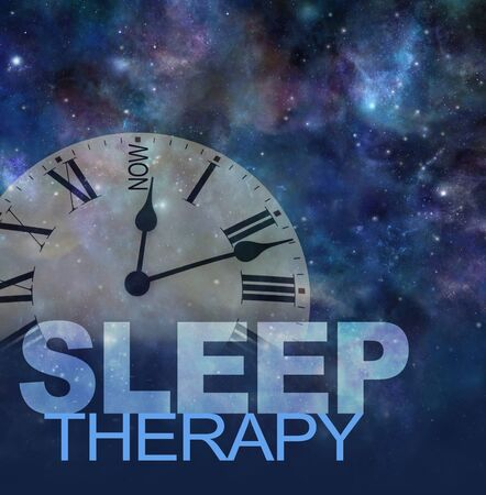 Try Sleep Therapy Now concept - transparent clock face with NOW instead of 12 againsgt a dark night sky background with the words SLEEP THERAPY beneath and copy space Stock Photo