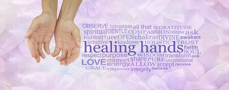 Gentle Healers Hands Word Cloud - Female hands cupped and offering beside relevant word cloud on a light lilac feather background