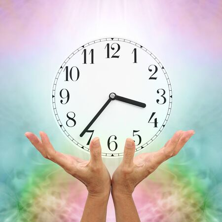 Make time for healing - female cupped open hands reaching up towards a clockface showing 3.37 against a pale multicoloured background