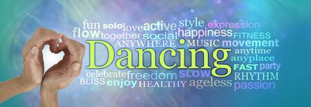 Love Dancing Word Tag Cloud - female hands making a heart shape beside the word DANCING surrounded by a relevant word cloud against a blue green background