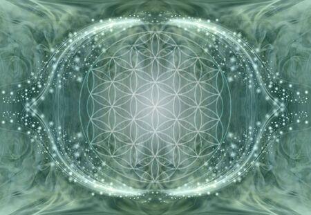 Le fond de mandala fleur de vie - fond d'énergie éthérée vert jade avec motif de symbole de fleur de vie central flou