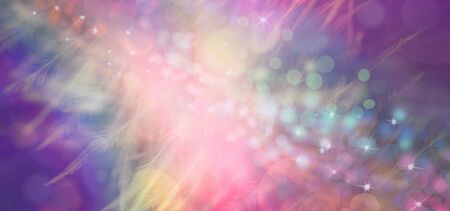 Rainbow Feather Christmas Celebration  Message banner -  random glittering sparkles against a multicoloured feathery  ethereal sparkling energy background ideal for a Christmas background