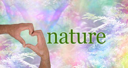 すべての栄光の色で愛の自然 - 男性の手は、コピースペースの多くを持つ美しいユニークな虹色の森林とシダの背景に対して彼の手で象徴的な心の