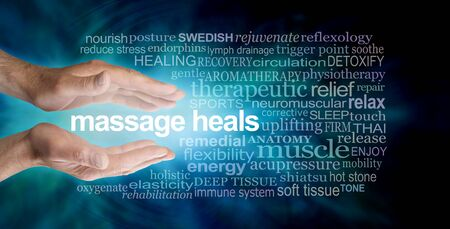 Massage heals word tag cloud - male parallel hands with the words MASSAGE HEALS floating between surrounded by a relevant word cloud on a dark petrol blue background Stock Photo
