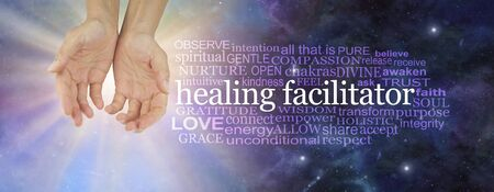 I am a healing facilitator word cloud - female open palm hands beside a HEALING FACILITATOR word cloud on a light burst and deep space dark blue background Фото со стока