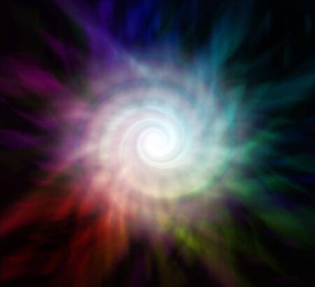 Darkness to Light Spiraling Energiewirbel - Hintergrund mit perfekter weißer Energiespirale vor einem mehrfarbig strahlenden Hintergrund