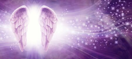 Purple Sparkle Angel Wings Message Board - pair of Angel wings on left side with a whoosh of wavy lines and sparkles on a purple background with copy space Stock fotó