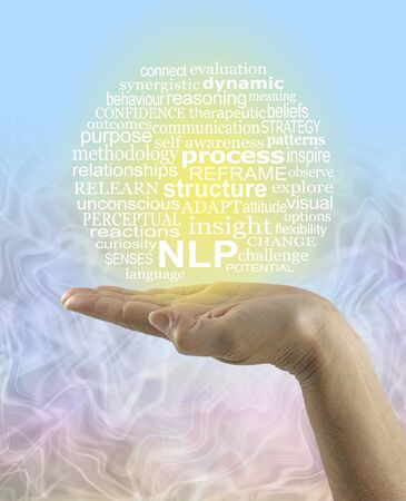 NLP Clarify Your Life Word Cloud - flat open palm hand with a circular NLP word cloud on a blue and yellow background merging with random waves below and copy space 版權商用圖片