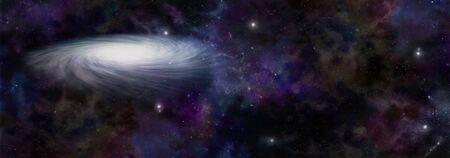 Gigantyczny obracający się sztandar tła kosmosu wszechświata - spiralny wszechświat na tle ciemnej przestrzeni kosmicznej z gwiazdami i planetami oraz przestrzenią do kopiowania