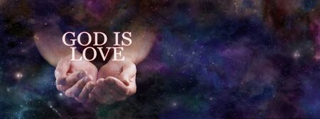 God Is Love and Eternally Giving Background - pair of cupped hands emerging from deep space with the words GOD IS LOVE floating above with copy space on right side