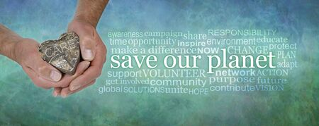 Save Our Planet Campaign Banner Word Tag Cloud - male hands holding a wooden heart saying CARE beside a SAVE OUR PLANET word cloud on a blue green rustic grunge background Stockfoto