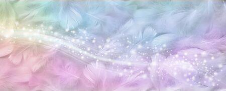 Precioso estandarte con brillo de plumas de colores del arco iris: fondo amplio con pequeñas plumas de pájaro blancas dispersas al azar coloreadas con tonos de arco iris y una banda de destellos que caen en cascada