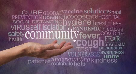 Stay Calm in the Community Covid-19 Pandemic Word Cloud - female open palm with COMMUNITY floating about surrounded by a COVID 19 coronavirus word cloud against dark red blue rustic grunge background