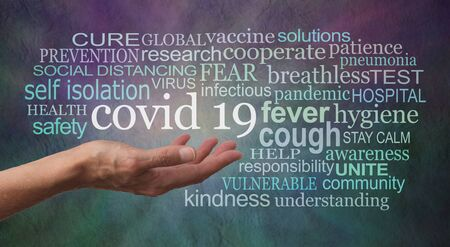 Coronavirus COVID 19 awareness tag word cloud banner - female open palm hand with the words CORONAVIRUS PREVENTION surrounded by a relevant word cloud against a dark blue purple rustic grunge background Archivio Fotografico